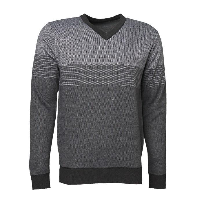 Universal Traveller Men Grey Tone V-Neck Knitted Sweater - Ks8044 By Universal Traveller.