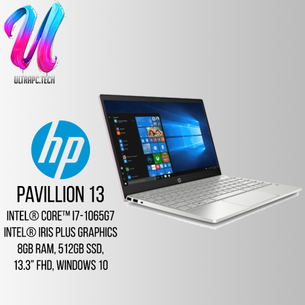 HP Pavilion Laptop 13-an1015TU - 8NN27PA (Intel core i7-1065G7, 8Gb Ram, 512GB SSD,Intel Iris Plus, 13.; FHD, Win 10 home)2 Years Wty