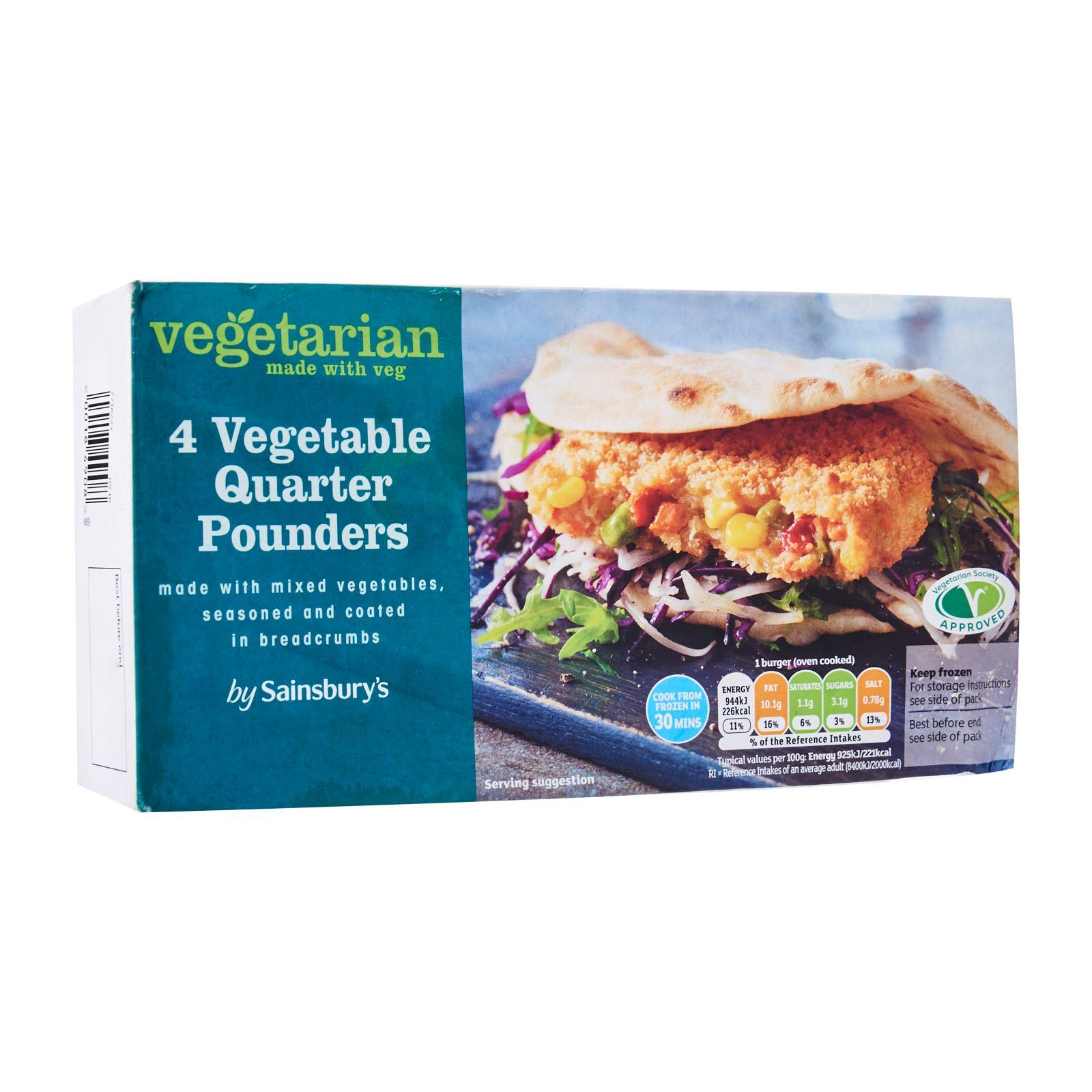 Sainsbury's Vegetarian Meat Free Quarter Pounders - Frozen