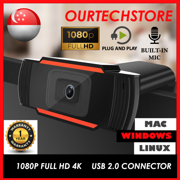 SG Stock】HD 2K 1080p Webcam Computer Laptop Webcamera With Microphone Macbook + Free Webcam cover