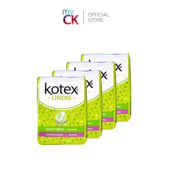 Buy (Bundle of 4) Kotex Pantyliner Daily Fresh Breathable Longer & Wider 175mm 32s Singapore
