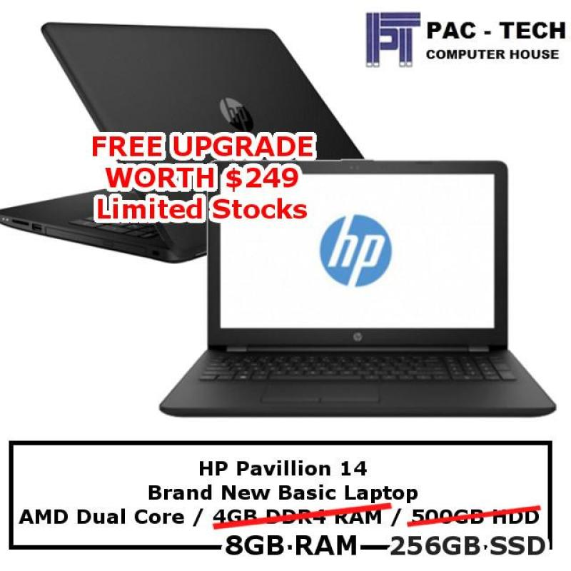 HP 14-Pavillion Basic Laptop / AMD Processor / Upgrade to 8GB RAM / Upgrade to 256GB SSD / 1 Year Warranty