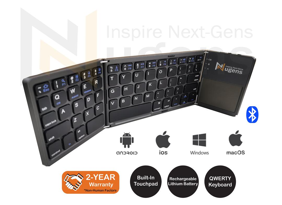 [Fast Delivery] Tri-fold Bluetooth Keyboard / Wireless Keyboard / Bluetooth Keyboard With Mouse pad / Rechargeable Portable Tri-fold Triple Wireless Ultra-Slim Bluetooth 3.0 Keyboard For IOS, Android, Windows, PC, Tablets, Smartphone, iPad / Mouse Pad