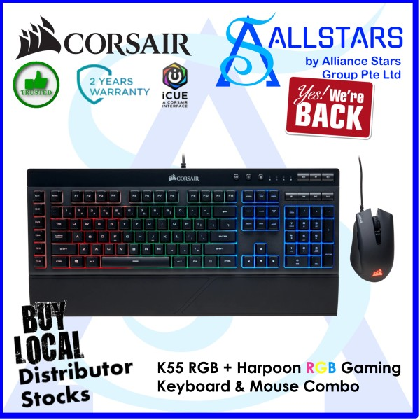 (ALLSTARS: We Are Back Promo) CORSAIR K55 RGB + Harpoon RGB Gaming Keyboard & Mouse Combo (CH-9206115-NA) (Warranty 2years with Convergent) Singapore