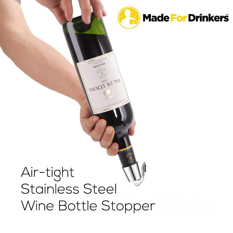 Stainless Steel Air-Tight Bottle Stopper By Madefordrinkers.