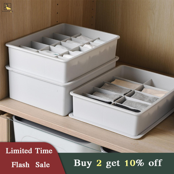 BANFANG Storage & Organisation living room furniture Space Savers storage box underwear sock storage box Multi-grid PP storage box multi-function box with dust cover NO GRID 10GRID 15GRID box