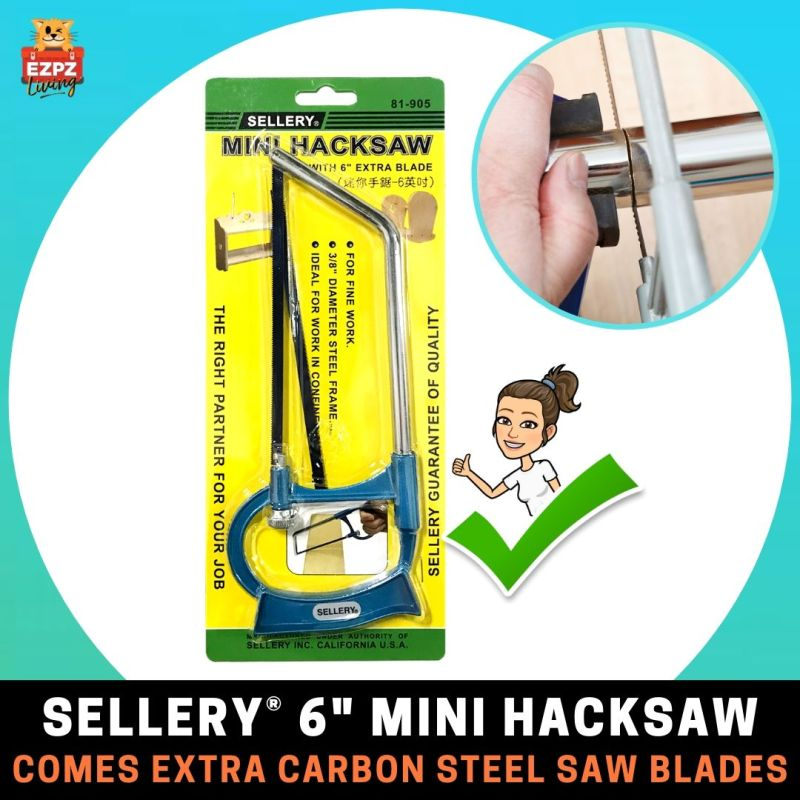 SELLERY 6 Inch Mini Hacksaw - 2 PC Carbon Steel Saw Blades [For DIY Wood Pipe Craft Cutting]