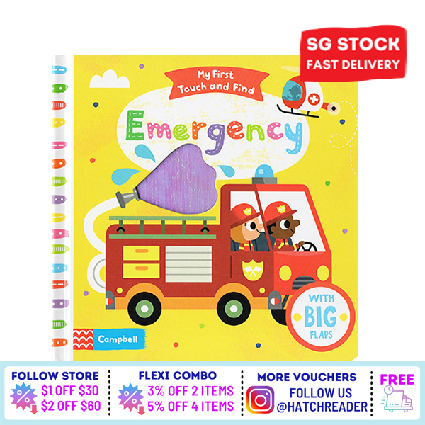[SG Stock] My First Touch and Find: Emergency |English Story book interative board book Touch and Feel for children toddlers kids baby 1 2 3 4 5 6 years old