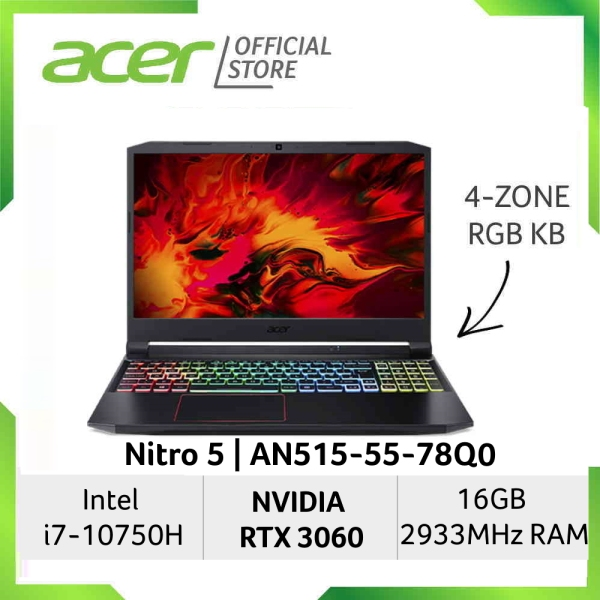 [READY STOCKS] [NVIDIA RTX 3060] Acer Nitro 5 AN515-55-78Q0 15.6 inch FHD Gaming Laptop | NVIDIA RTX 3060 Graphic | 16GB RAM | Intel Core i7-10750H processor