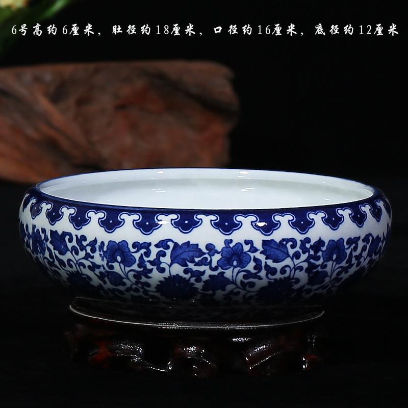 Jingdezhen Ceramic Works Blue Pattern Goldfish Bowl Water Shallow wu gui gang Ash Tray Writing-brush Washer Tea Basin Living Room Crafts Ornament