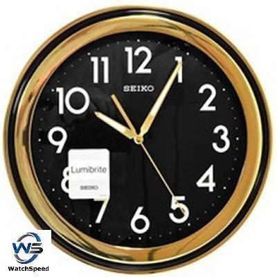 Seiko QXA578F LumiBrite Black Dial Gold Tone Wall Clock
