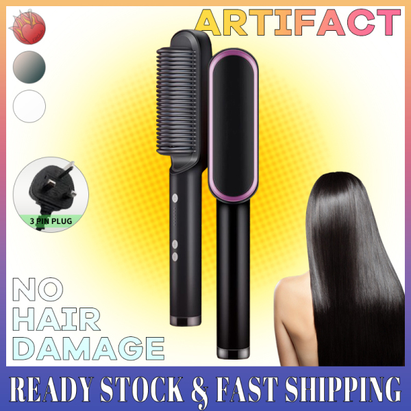 Buy [🚩SG Ready Stock] Hair Straightener Comb Straight Curly No Damage Hair PTC Heating Constant Temperature Simple To Use Singapore