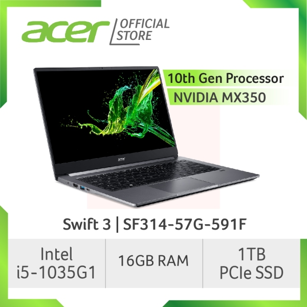 [LATEST-READY STOCKS] Acer Swift 3 SF314-57G-591F Thin and light laptop with LATEST 10th gen Intel i5-1035G1 processor and NVIDA MX350 Graphic