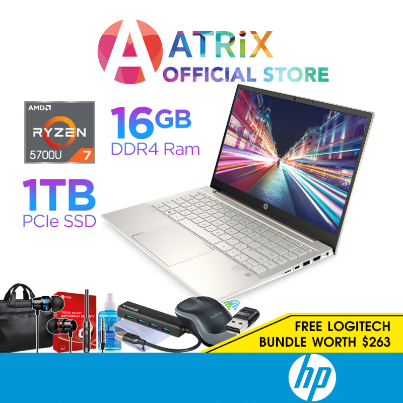 【Same Day Delivery】HP Pavilion Laptop 14-EC0029AU Thin and Light   14inch FHD IPS   AMD Ryzen 7 5700U   16GB DDR4   1TB PCIe SSD   Win10 Home   2Yrs HP onsite Warranty