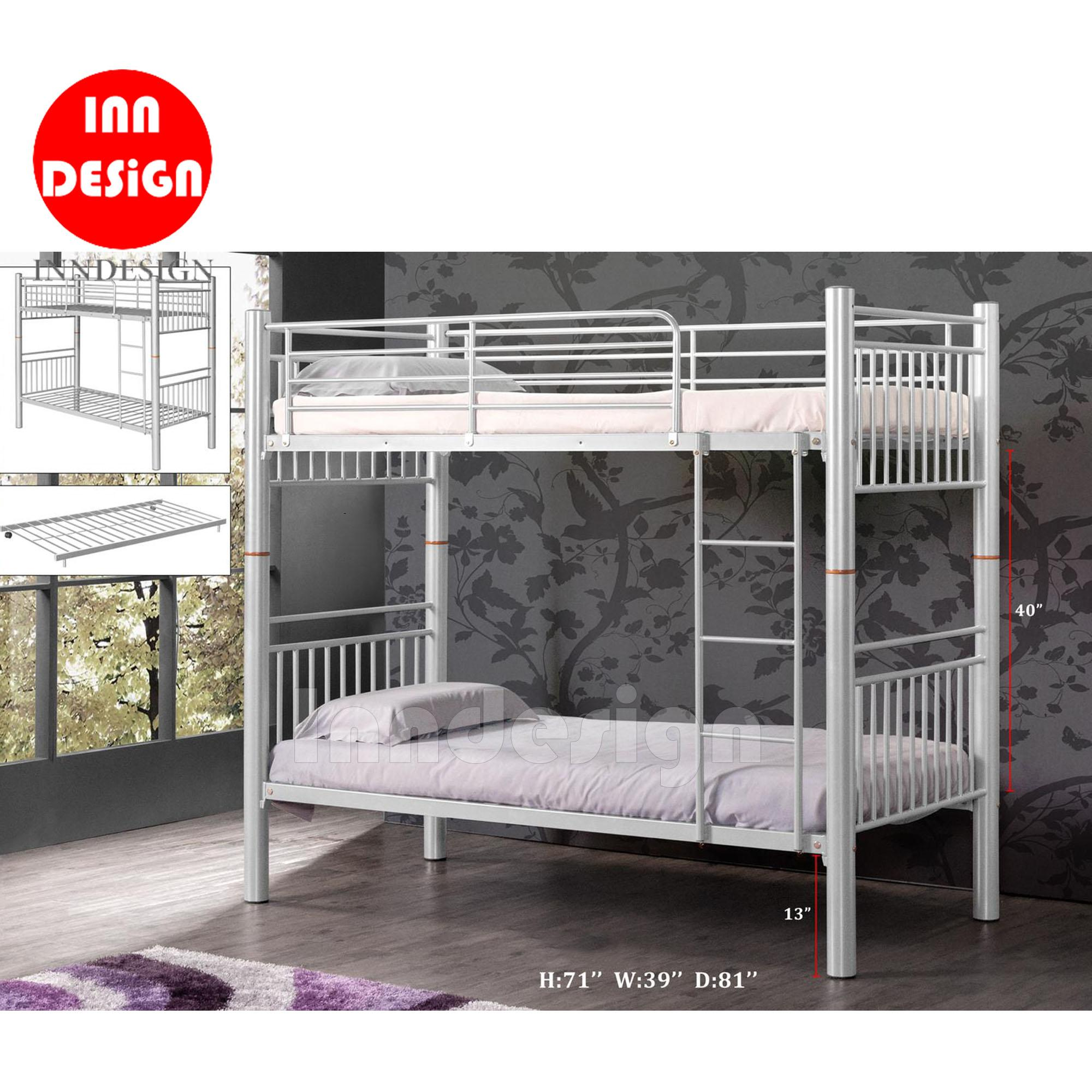 Double Deck Bed Single Size / Metal Bed Frame (Silver)