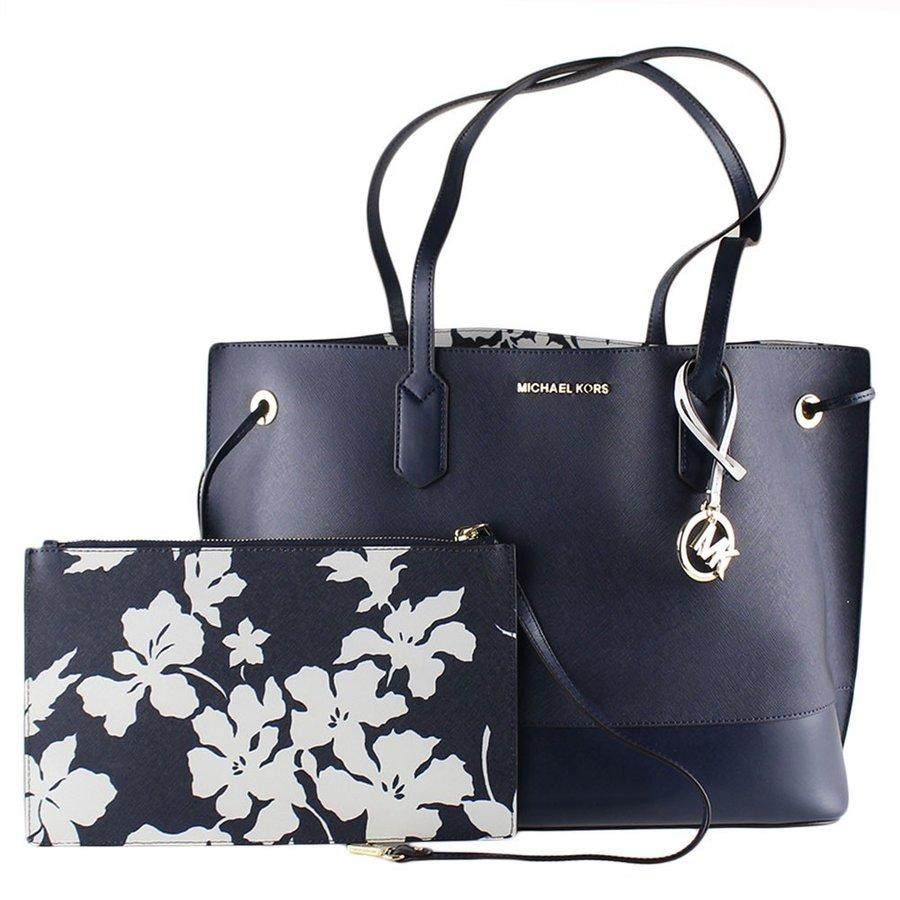 00422d1d876c1 NEW ARRIVAL Michael Kors Trista Large Drawstring Leather Tote Navy Blue