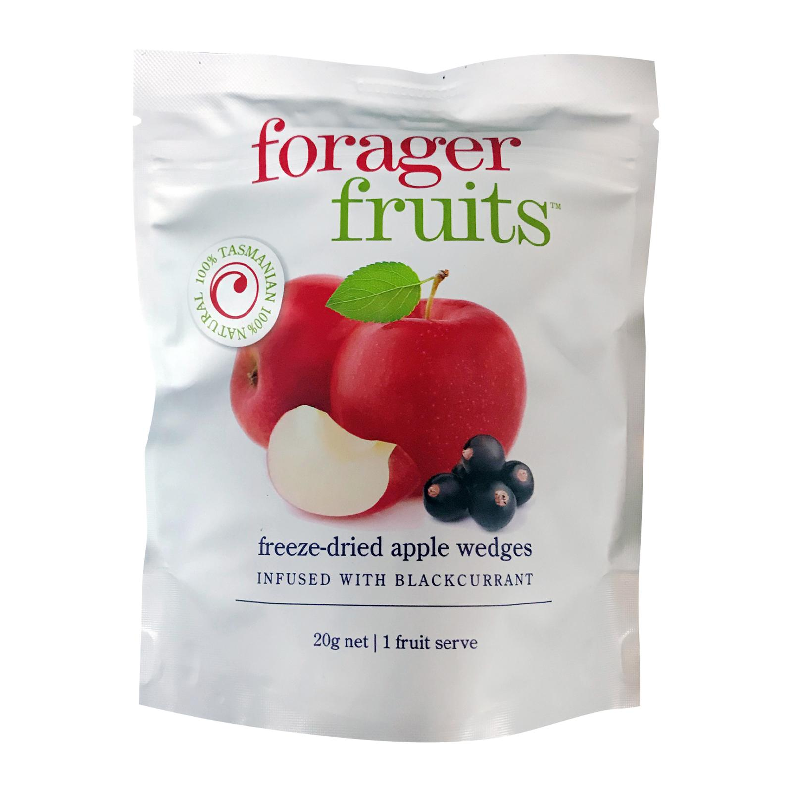Forager Fruits Freeze Dried Apple Wedges Infused with Blackcurrant