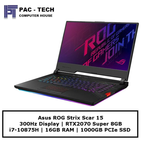 Asus ROG Strix Scar 15 GL532LWS-RTX2070 | 300Hz Display | RTX2070 Super | i7-10875H | 16GB RAM | 1TB SSD | Windows 10 Home | 2 Year Warranty