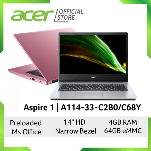 [Latest 2021 Model] Acer Aspire 1 A114-33-C2B0/C68Y(Pink/Silver) Laptop - Preloaded 1 Year Microsoft Office 365 Personal