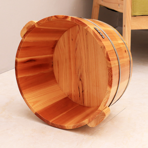 Buy Description of the Winds of 40CM High Fir Wood Foot Bath Wooden Bucket zu yu tong Feet-washing Basin Barrel Foot Bath Tub Home with Lid Singapore