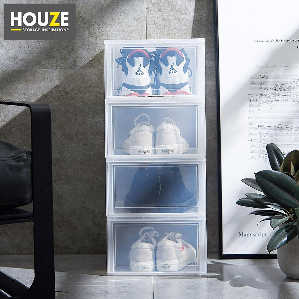 HOUZE - Modular Retractable Lid Mens Shoe Box (Pack of 4)