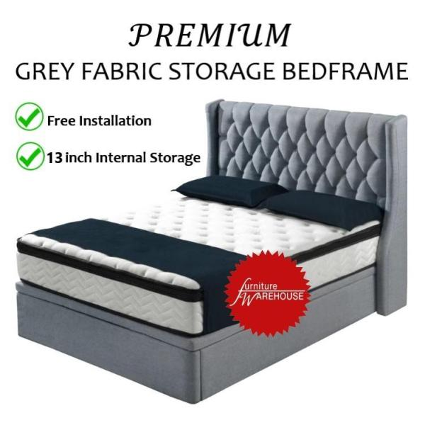 Premium Grey Colour Fabric Storage Bed