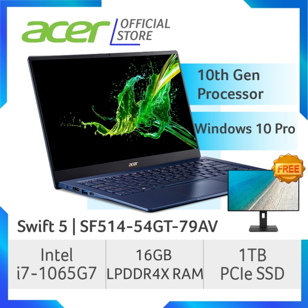 Acer Swift 5 SF514-54GT-79AV NEW Thin and light Touch Screen laptop with 10 Gen Intel i7-1065G7 Processor and 16GB RAM - Windows 10 Pro