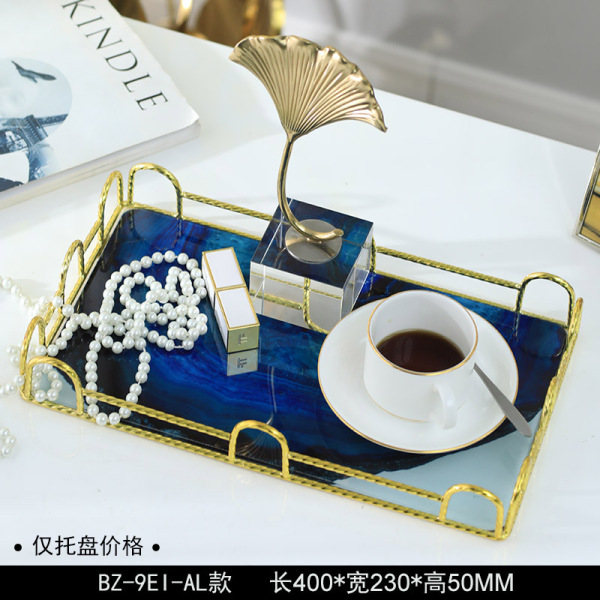 The Nordic Light Luxury Metal Agate Tray Rectangular Home Put Cup Glass Household Tray Fruit Plate Decorations