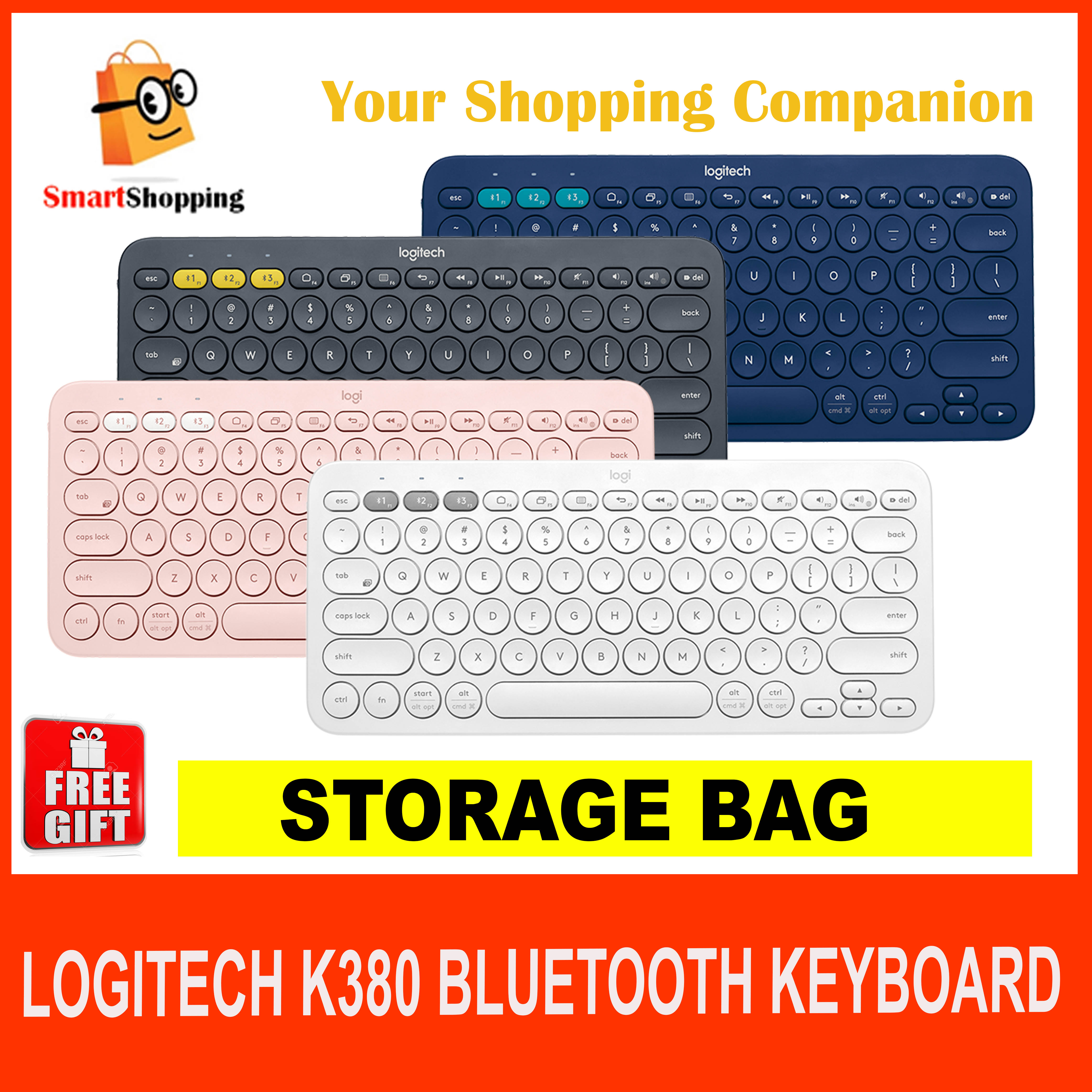 Logitech K380 Multi-Device Bluetooth Keyboard K 380 Blue tooth Black Blue Off White Rose KB Singapore