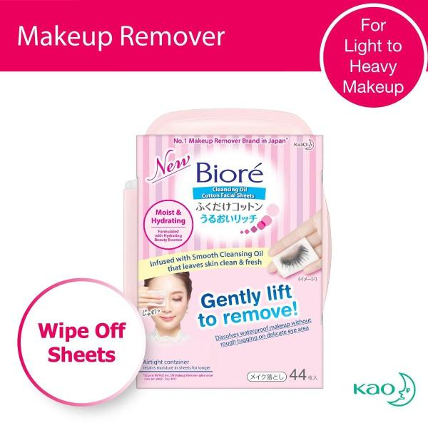 Buy Biore Cleansing Oil Cotton Facial Sheets (Moist & Hydrating) Regular Tub 44 sheets Singapore