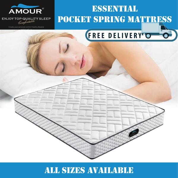 Amour 9 inch Pocket Spring Mattress Single/Super Single/Queen/King Size available 10 Years Warranty Free Delivery