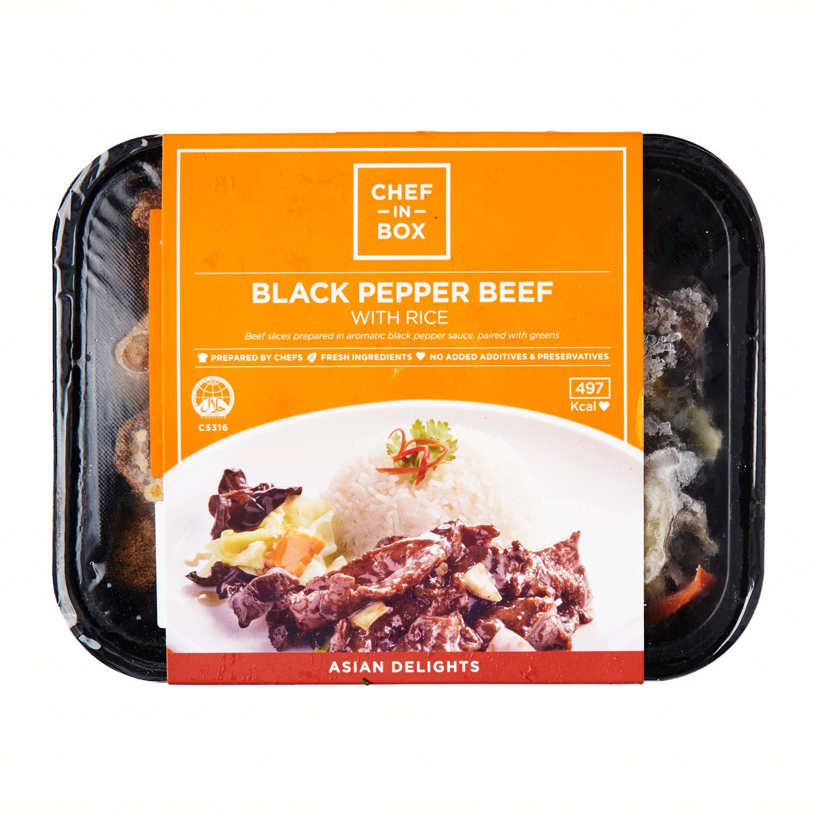Chef-in-Box Black Pepper Beef With Rice - Frozen