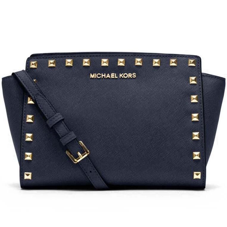 e930478ce7ec Michael Kors Medium Messenger Selma Stud Leather Satchel Crossbody Bag  Handbag Navy Blue # 30T3GSMM2L