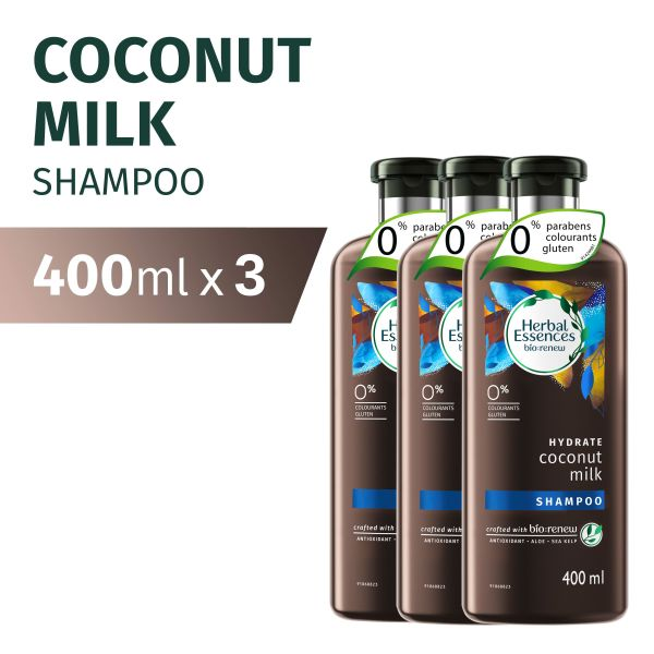 Buy [Bundle of 3] Herbal Essences Bio: Renew Hydrate Coconut Milk Shampoo 400ml Singapore