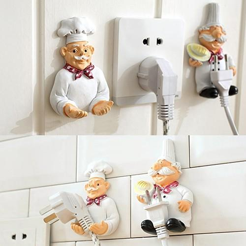 [SG Seller]Creative Lovely Cartoon Chef Strong Storage Rack Hook Wall Decor Plug Holder