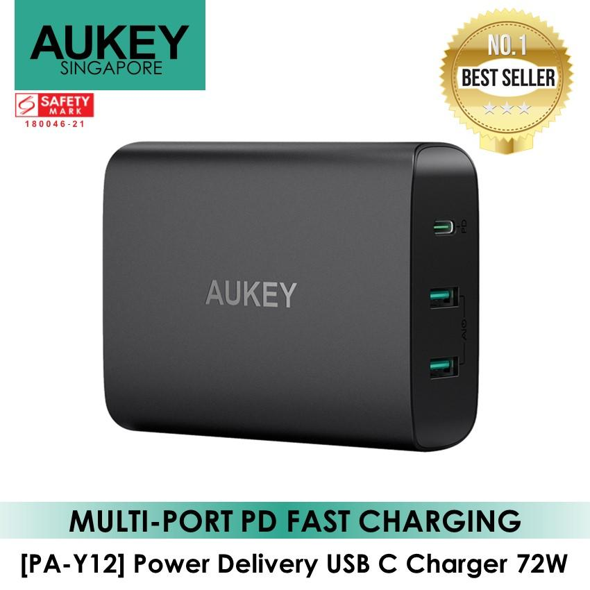 Aukey [pa-Y12] 72w 3 Port Power Delivery Usb C Wall Charger Local Warranty By Aukey Official Store.