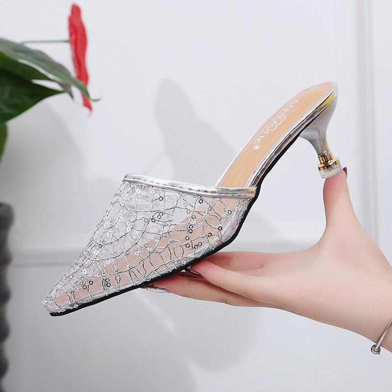 2019 musim panas jaringan Model Sama RESTONIC sepatu sandal selop kasa bagian depan tajam hijab hak sedang pakaian luar sendal adem sepatu wanita Sandal selop
