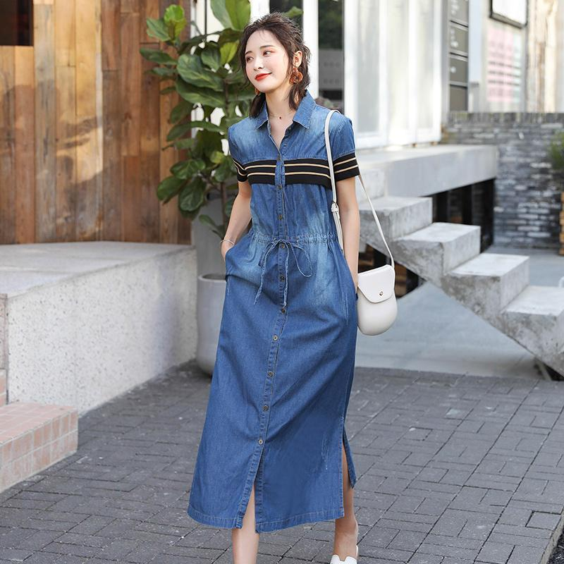 Tay Ngắn Vải Bò Đầm Quần Áo Nữ 2020 Mùa Hè Mẫu Mới Phiên Bản Hàn Quốc Kiểu Lửng Mốt Thời Thượng Bó Eo Buộc Dây Qua Đầu Gối Váy Dài