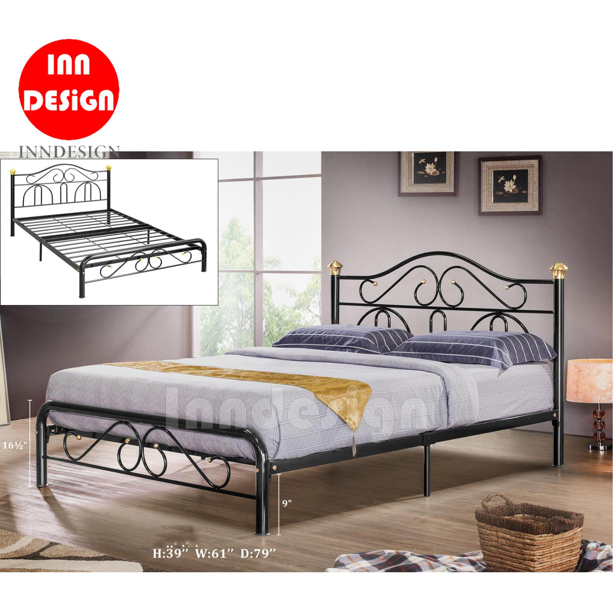 Queen Metal Bed / Metal Bed Frame (Black)