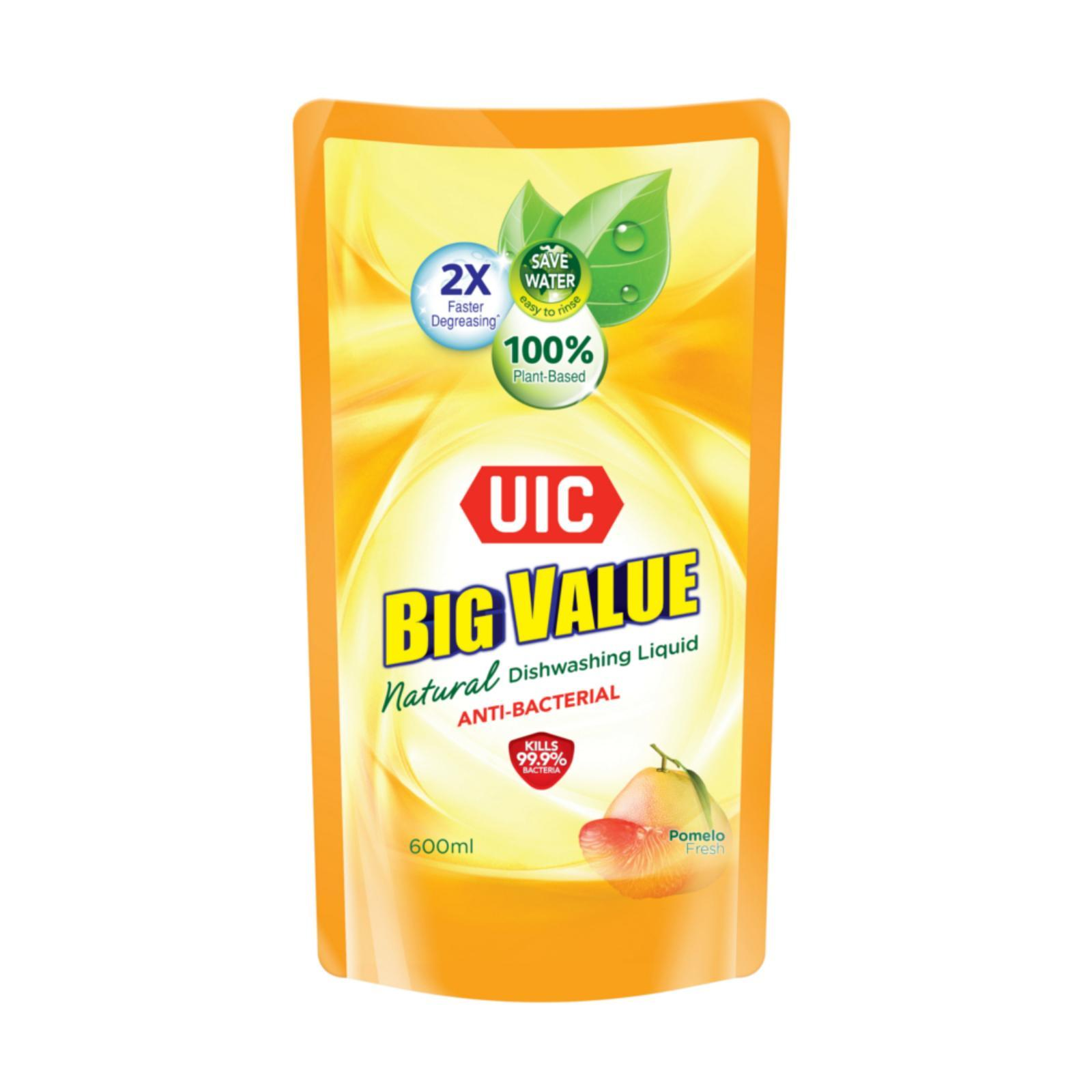 UIC Big Value Natural Anti-Bacterial Dishwashing Liquid Refill Pack