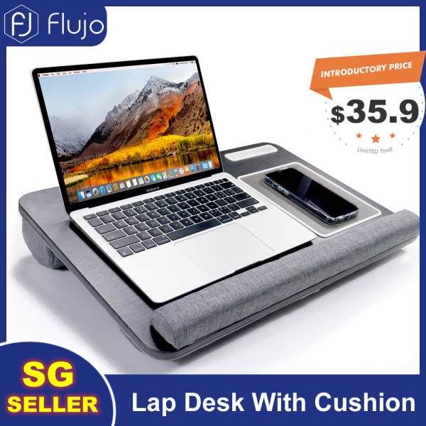 [Pre-Order] Flujo Home Office Lap Desk Fits up to 17 Inches Laptop with Cushion Wrist Rest for for Notebook, MacBook, Tablet With Mouse Pad, Tablet, Pen&Phone Holder-Ship From 20th September