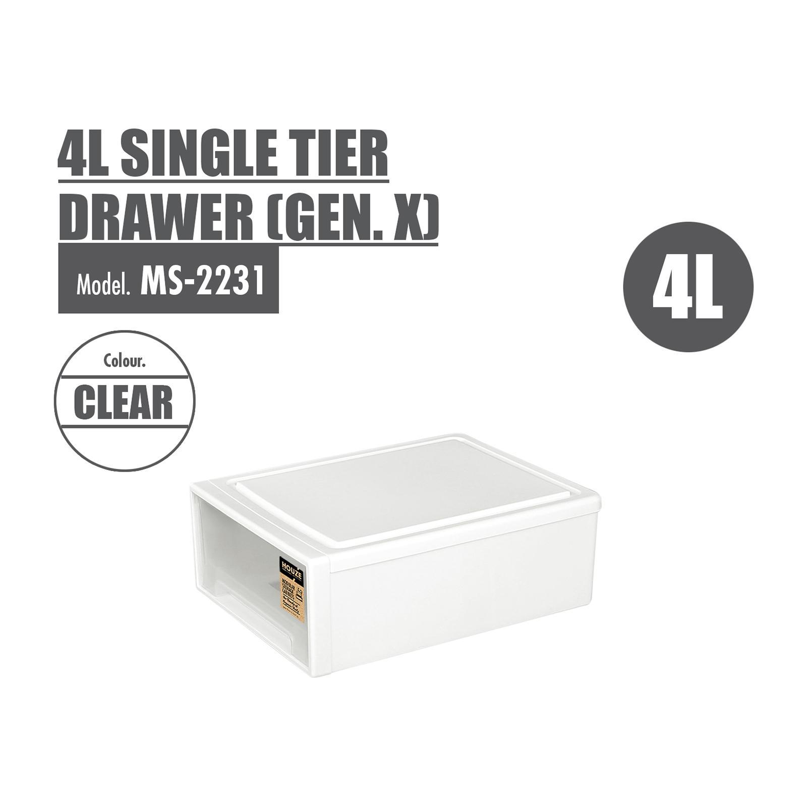 HOUZE - 4L Single Tier Drawer - Gen. X -Dim: 27.5x18x10cm - MS-2231-CLEAR