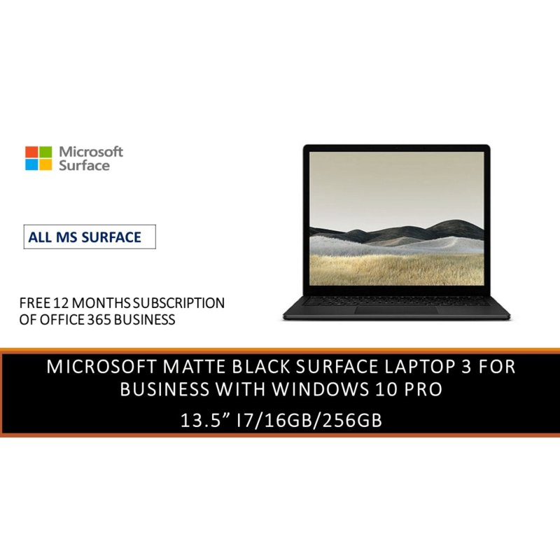 Latest MICROSOFT SURFACE LAPTOP 3 13.5  i7 16gb RAM 256gb SSD (BUSINESS EDITION WITH WIN 10 PRO) in Matte Black  [ALL MS SURFACE]