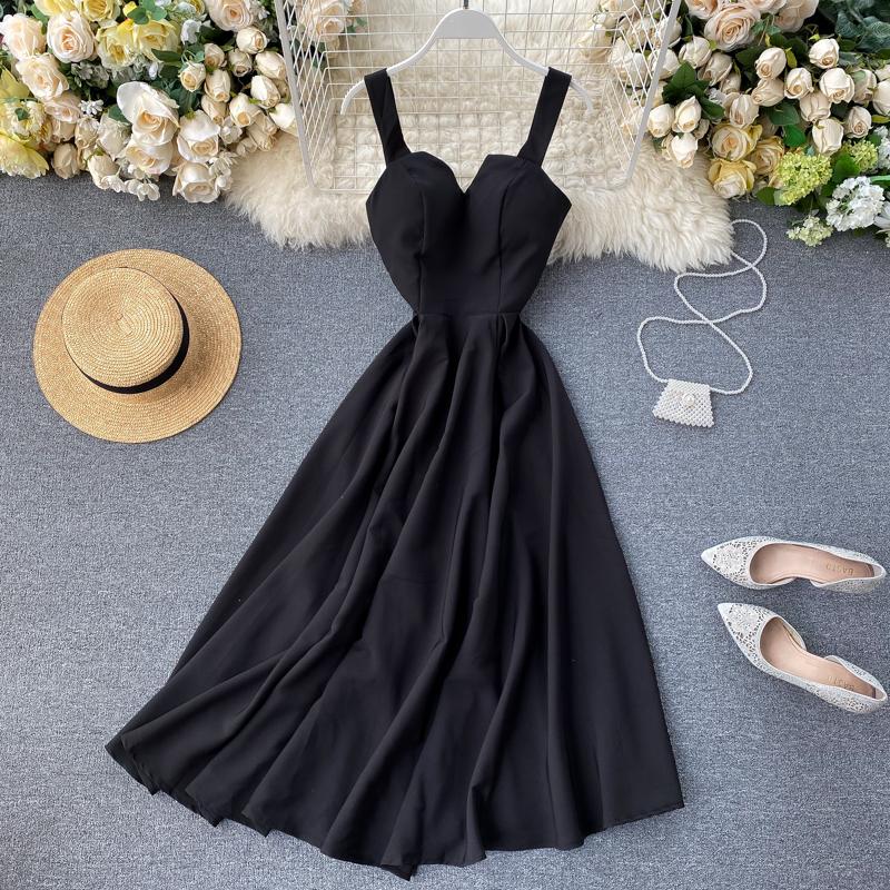 2020 Mẫu Mới Cảm Hứng Thiết Kế Nhỏ Tâm Cơ Cổ Chữ V Hở Lưng Phong Cách Retro Một Màu Bó Eo Tôn Dáng Đầm Váy Dài Nữ ĐầM