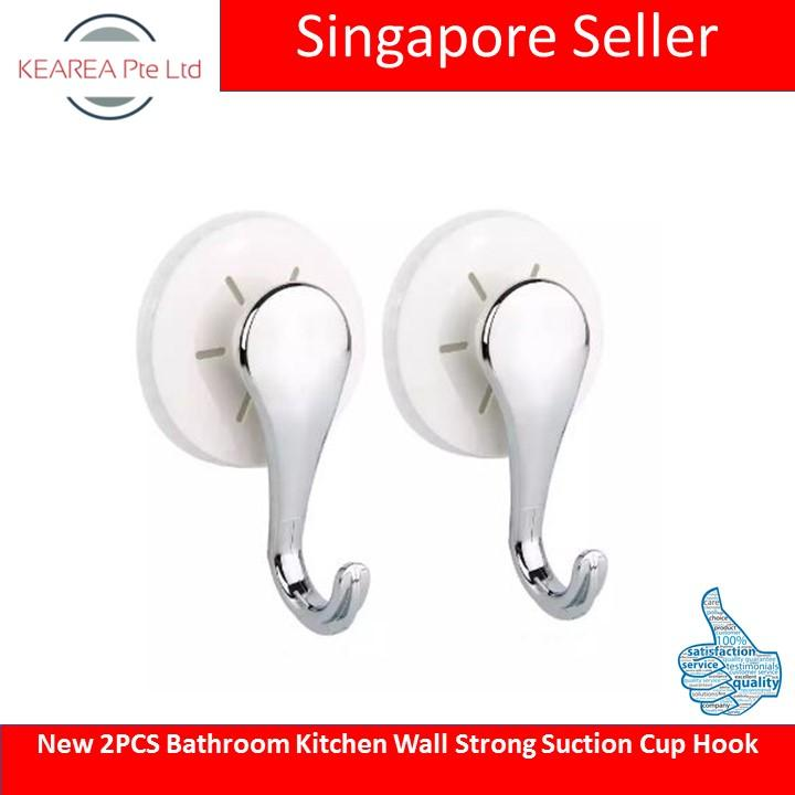 New 2PCS Bathroom Kitchen Wall Strong Suction Cup Hook