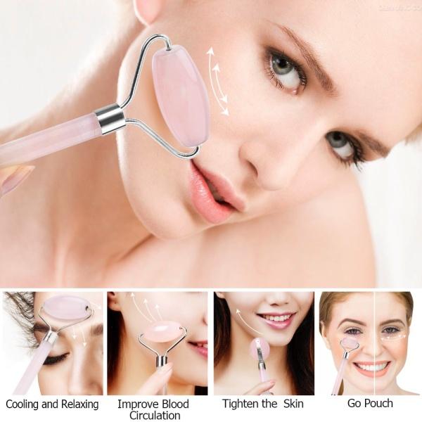Buy [Local Ready stock]100% Real Natural Rose Quartz Jade Facial Roller Anti Aging Face Roller Massager Pink Singapore