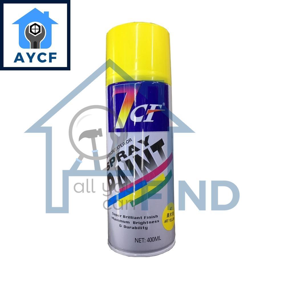 (BUNDLE OF 12) 7CF Interior / Exterior Spray Paint 400ml - Art Yellow
