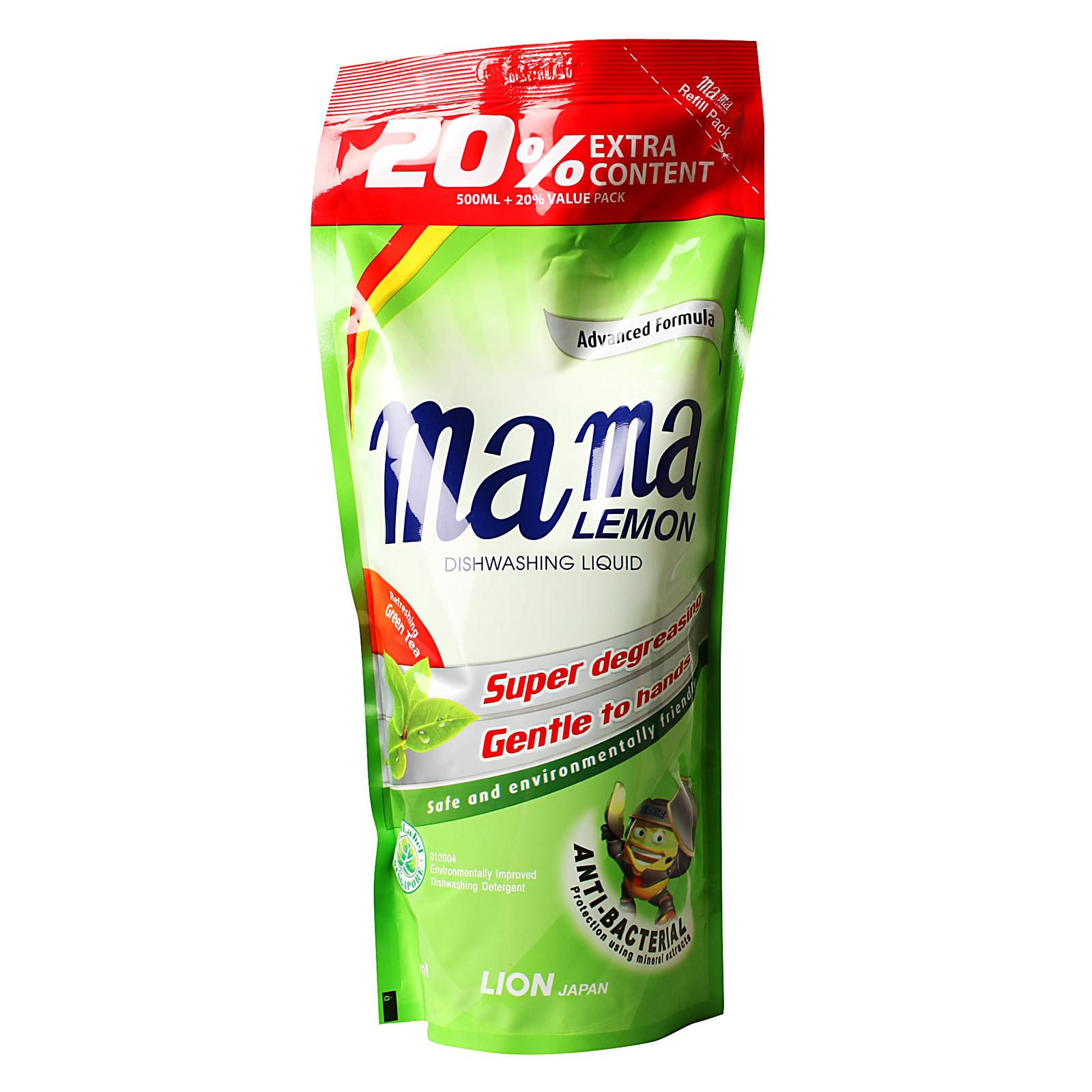 Mama Lemon Anti-Bacterial Refreshing Green Tea Dishwashing Liquid Refill Pack