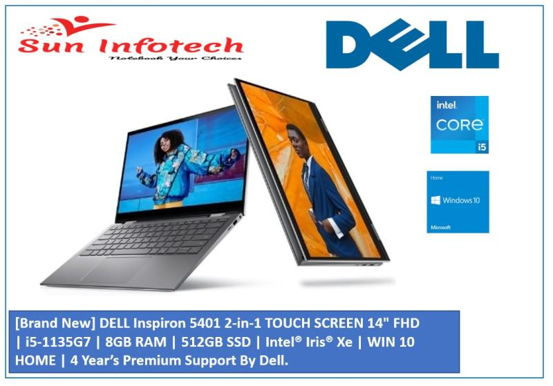 [Brand New] DELL Inspiron 5401 2-in-1     TOUCH SCREEN 14 FHD   i5-1135G7   8GB RAM   512GB SSD   Intel® Iris® Xe   WIN 10 HOME   3 YEARS Premium Support By Dell.