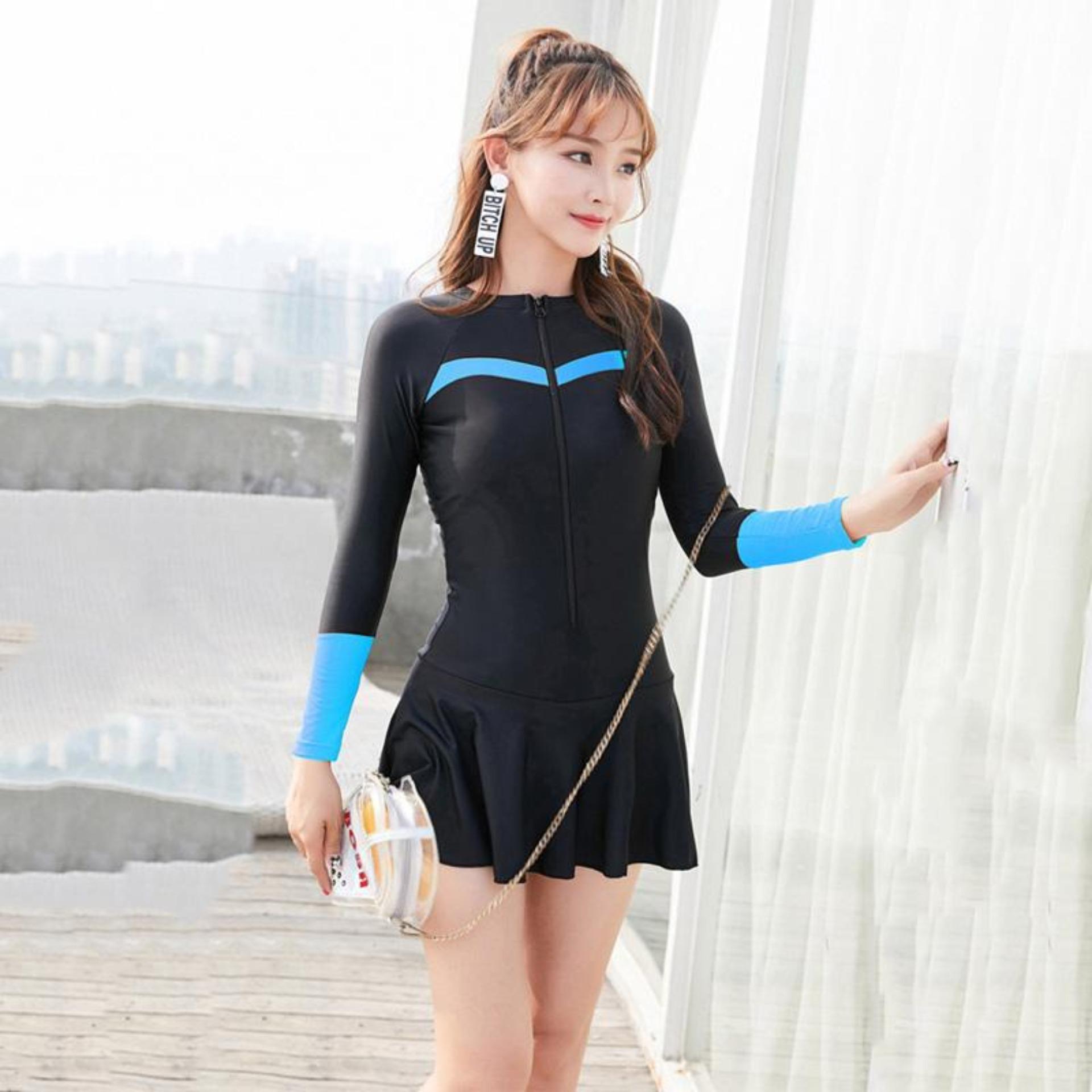 M-4xl Plus Size Sports Swimwear Cute Woman Zipper One Piece Swimsuit Skirts Bottom Beachwear Sexy Bathing Suit Women 2019 Zipper Front Long Sleeve Swim Suit By Limerence.